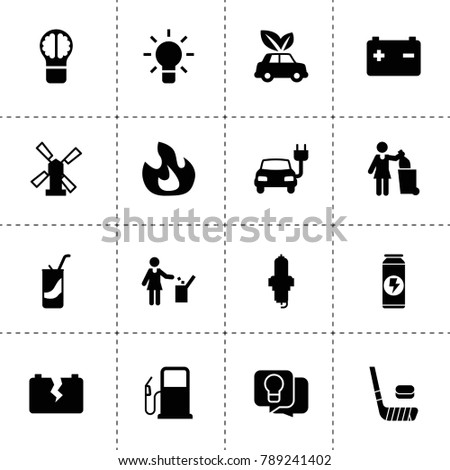Energy icons. vector collection filled energy icons. includes symbols such as fire, windmill, bulb, spark plug, car battery. use for web, mobile and ui design.
