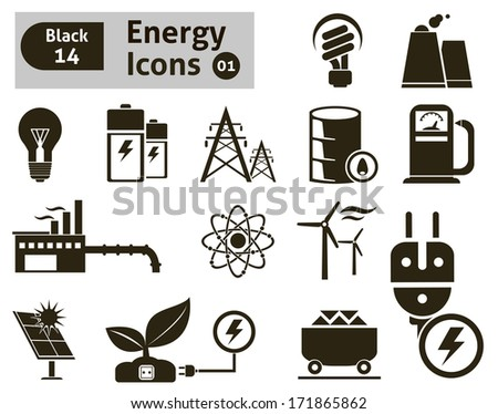 Energy icons. Vector set f - stock vector