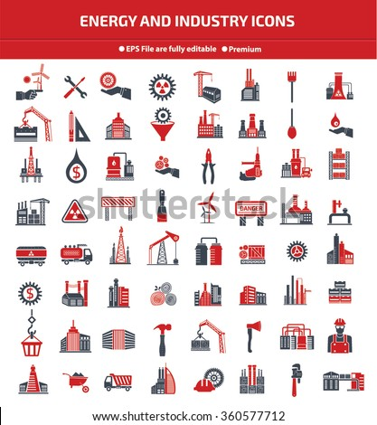 Energy,Industry,construction and engineer icon set,Red version,clean vector