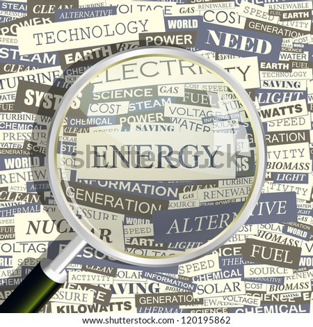 ENERGY. Magnifying glass and seamless background. Vector pattern. Word cloud association concept.