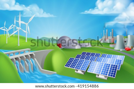Energy or power generation sources illustration. Includes renewable sources such as hydro dam, solar and wind also nuclear and coal power plants - stock vector