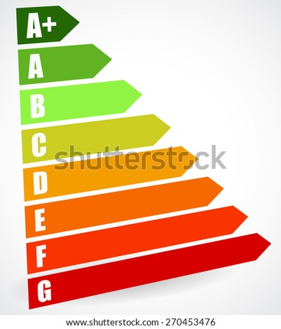 Energy Rating Certificate, Energy Performance Certificates. Energy efficiency, energy consumption rating for houses, homes. Energy efficient, energy wasting. Ecology / Ecological impact of buildings. - stock vector