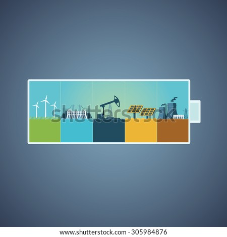 Energy recources. Information design with different types of power plants. Info-graphics template. - stock vector