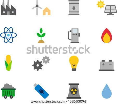 ENERGY RESOURCES colored flat icons