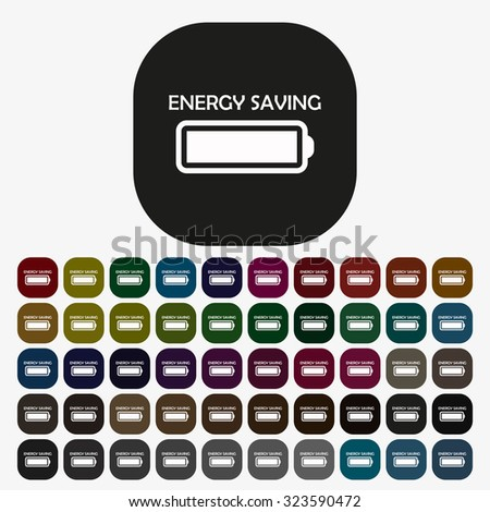 energy saving battery. icon. vector design, set of colored buttons - stock vector