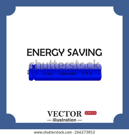 energy saving battery, web icon. vector design - stock vector