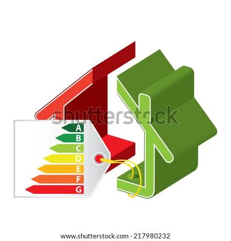 Energy saving certificate concept, green building against regular building concept - stock vector