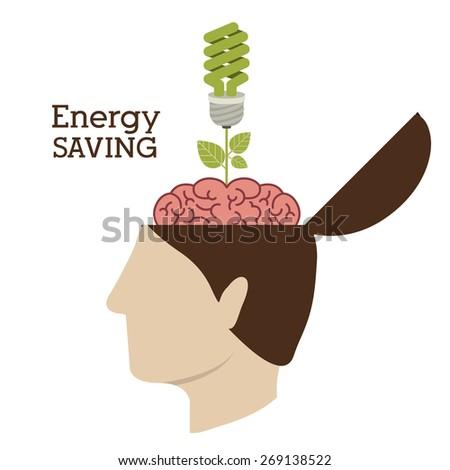 Energy Saving design over white background, vector illustration - stock vector