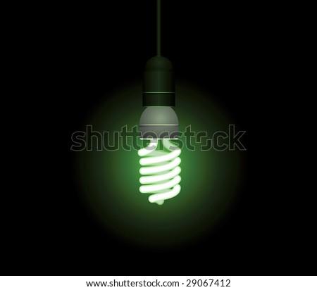Energy saving fluorescent light bulb - stock vector