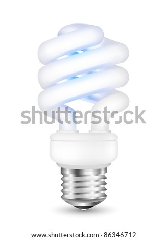 Energy saving fluorescent  light bulb. Vector illustration - stock vector