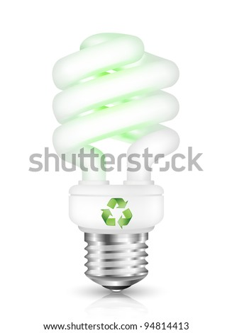Energy saving fluorescent light bulb with recycle sign. Vector illustration - stock vector