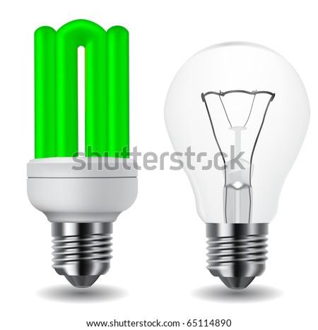 energy saving green lightbulb and classic lightbulb - stock vector
