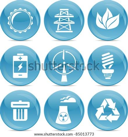 energy saving icons - stock vector