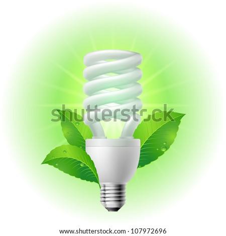 Energy saving lamp. Illustration on white background. - stock vector