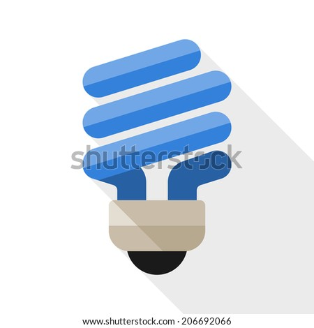 Energy saving light bulb flat icon with long shadow on white background - stock vector