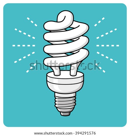 Energy saving light bulb glowing icon. - stock vector