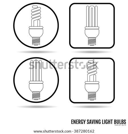 Energy saving light bulb icons. Bulb icons Vector Art, Stock Vector - stock vector