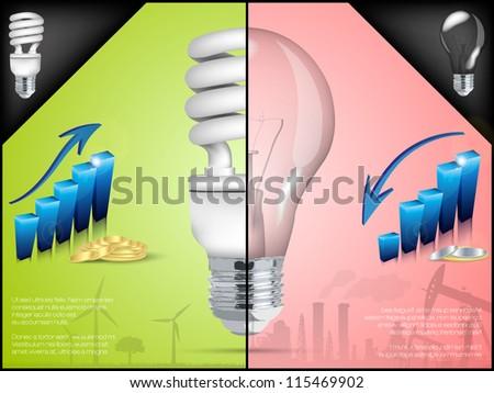 energy saving light bulb in infographic - stock vector
