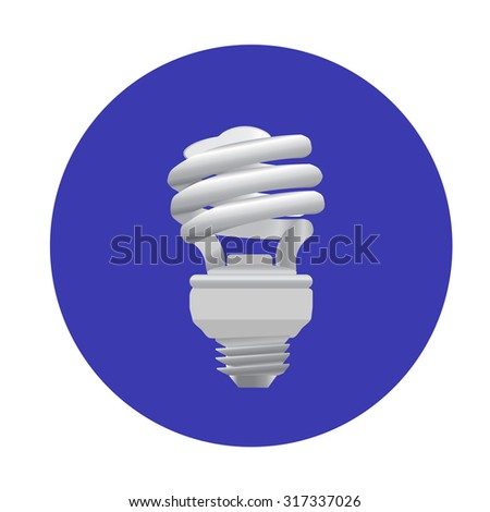 Energy saving light bulb on blue background. Photo-realistic icon. Vector illustration. - stock vector