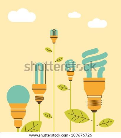 Energy saving lightbulb in cartoon style - stock vector