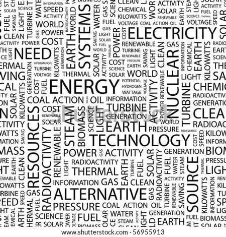 ENERGY. Seamless vector pattern with word cloud. Illustration with different association terms.