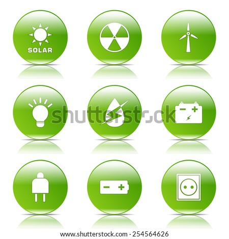 Energy Sign And Symbol Green Vector Button Icon