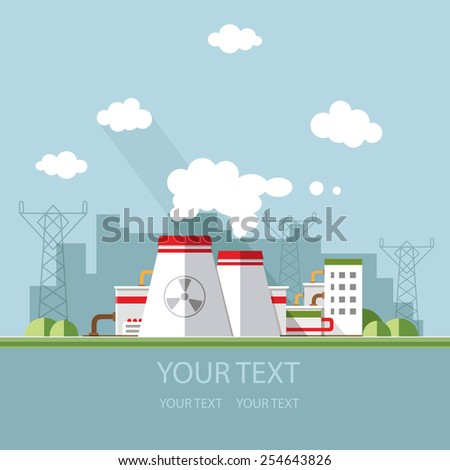 Energy station. The nuclear power plant on the background of the city. Set of elements for construction of urban and village landscapes. Vector flat illustration - stock vector