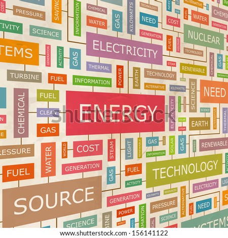 ENERGY. Word cloud concept illustration. Graphic tag collection. Wordcloud collage with related tags and terms.  - stock vector