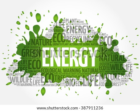 Energy word cloud, conceptual green ecology background - stock vector