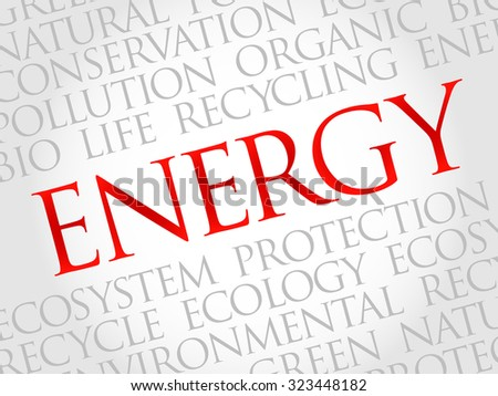 Energy word cloud, environmental concept - stock vector