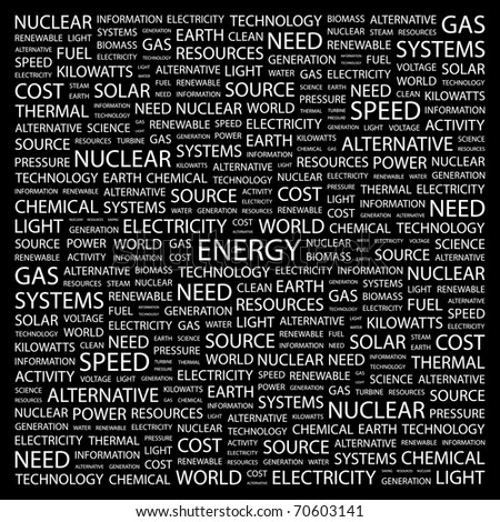 ENERGY. Word collage on black background. Illustration with different association terms. - stock vector