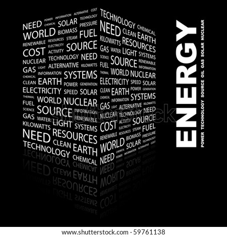 ENERGY. Word collage on black background. Vector illustration. - stock vector