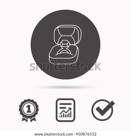 Engagement ring icon. Jewellery box sign. Report document, winner award and tick. Round circle button with icon. Vector - stock vector