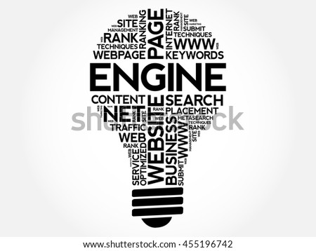 ENGINE bulb word cloud collage, business concept background - stock vector