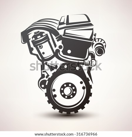 engine car symbol, stylized vector silhouette icon - stock vector