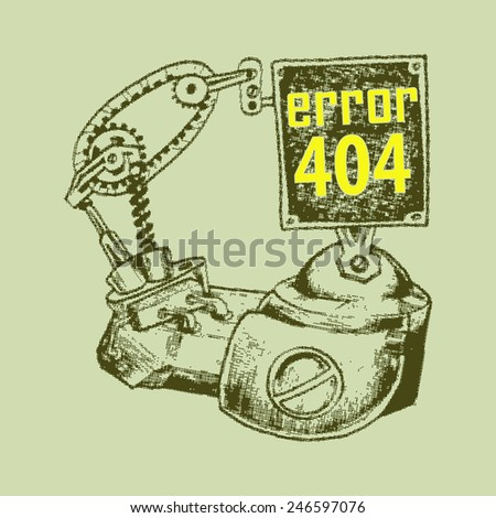 engine for error landing page illustration - stock vector