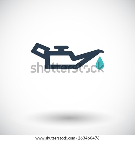 Engine oil. Single flat icon on white background. Vector illustration. - stock vector