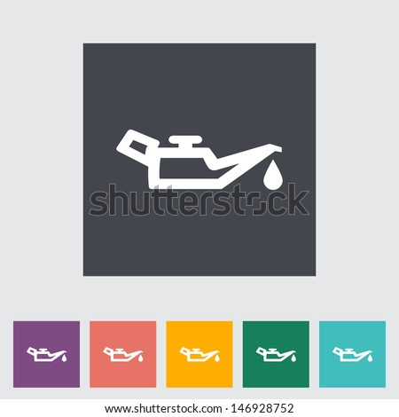 Engine oil. Single flat icon. Vector illustration. - stock vector