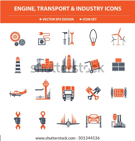 ENGINE,TRANSPORT and Industry icon set,Orange version,clean vector - stock vector