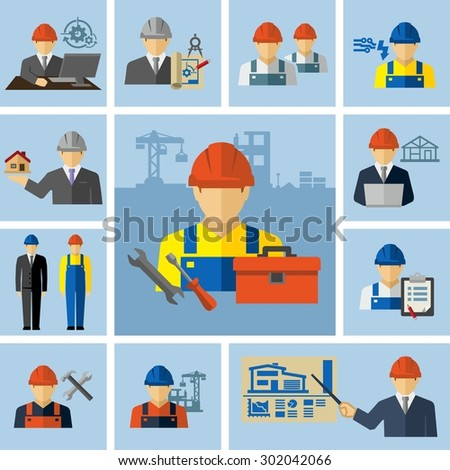 Engineer Architect Construction Workers Icons  - stock vector