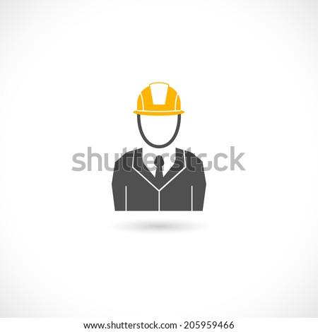 Engineer builder worker in orange helmet hat isolated icon vector illustration - stock vector