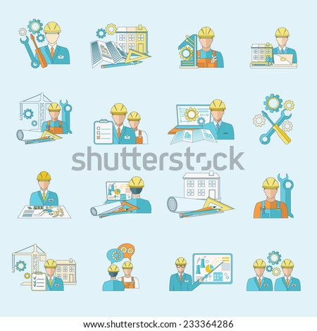 Engineer construction equipment industrial process production and manufacturing icons line set isolated vector illustration. - stock vector