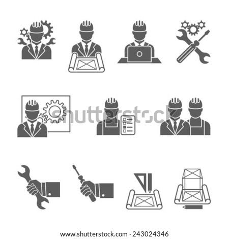 Engineer construction equipment machine operator managing and manufacturing icons set isolated vector illustration - stock vector