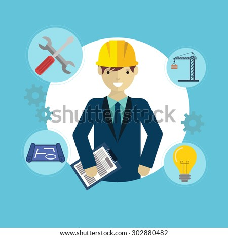 Engineer construction industrial factory manufacturing worker with items - stock vector