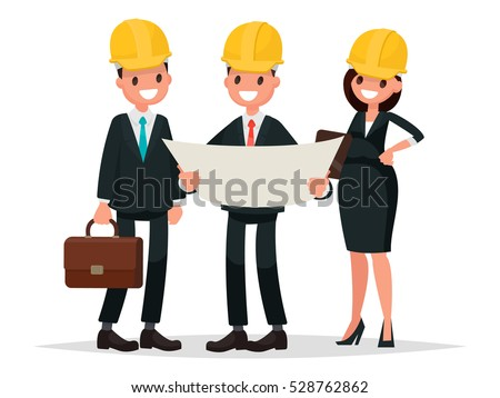 Engineer customer and contractor are discussing the project. Vector illustration in  flat style