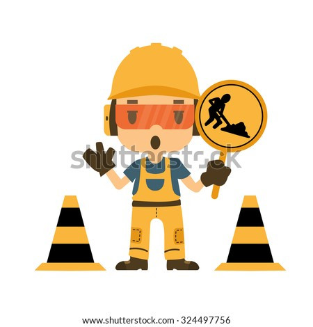 Engineer holding construction road sign, Safety and health, flat style, vector illustrator. - stock vector