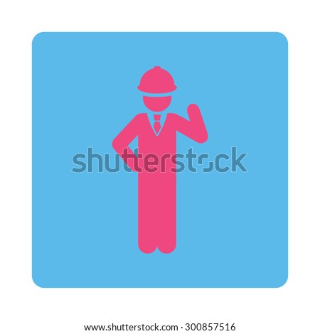 Engineer icon. Vector style is pink and blue colors, flat rounded square button on a white background.