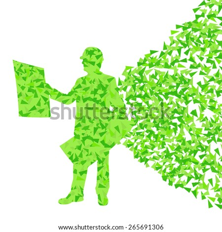 Engineer man detailed construction site silhouette illustration vector background concept made of fragments - stock vector
