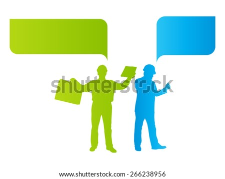 Engineer man detailed silhouettes illustration vector background company team concept with speech bubbles - stock vector