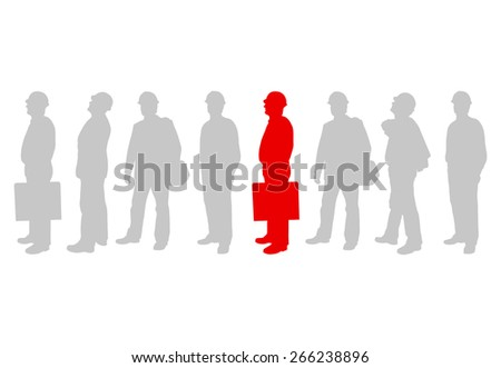 Engineer man detailed silhouettes illustration vector background company team leader concept - stock vector